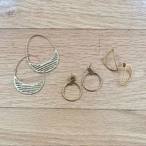 assorted gold earrings